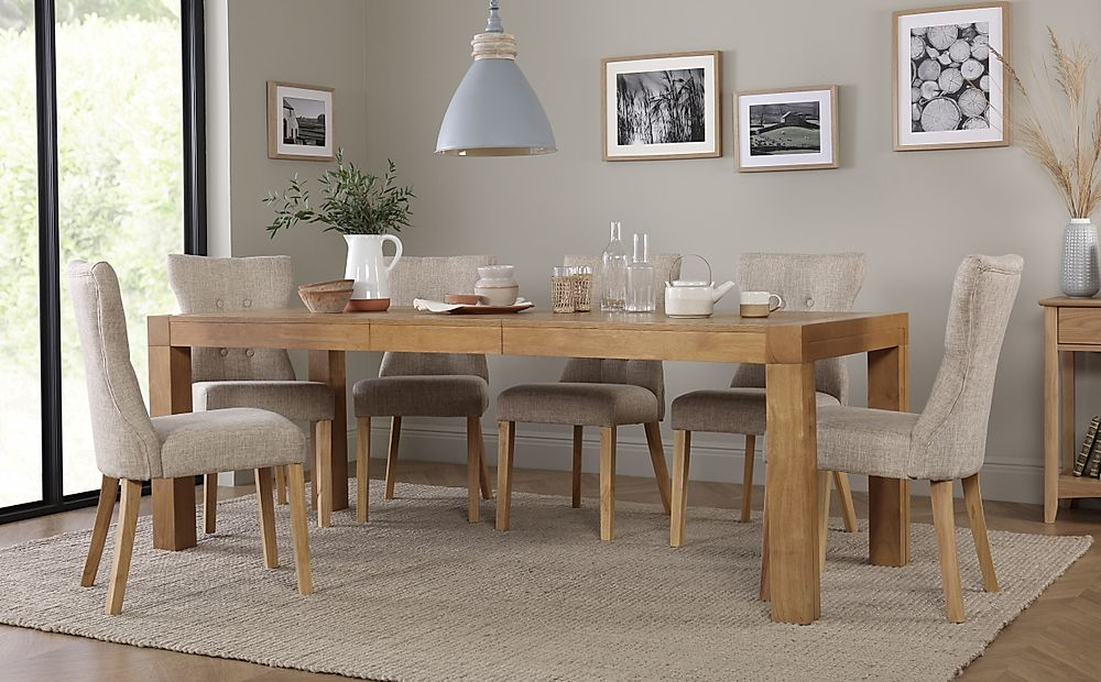 Cambridge Oak Extending Dining Table with 6 Bewley Oatmeal Chairs