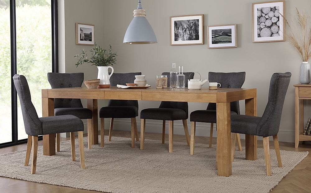 Cambridge 175-220cm Oak Extending Dining Table with 6 Bewley Slate Chairs