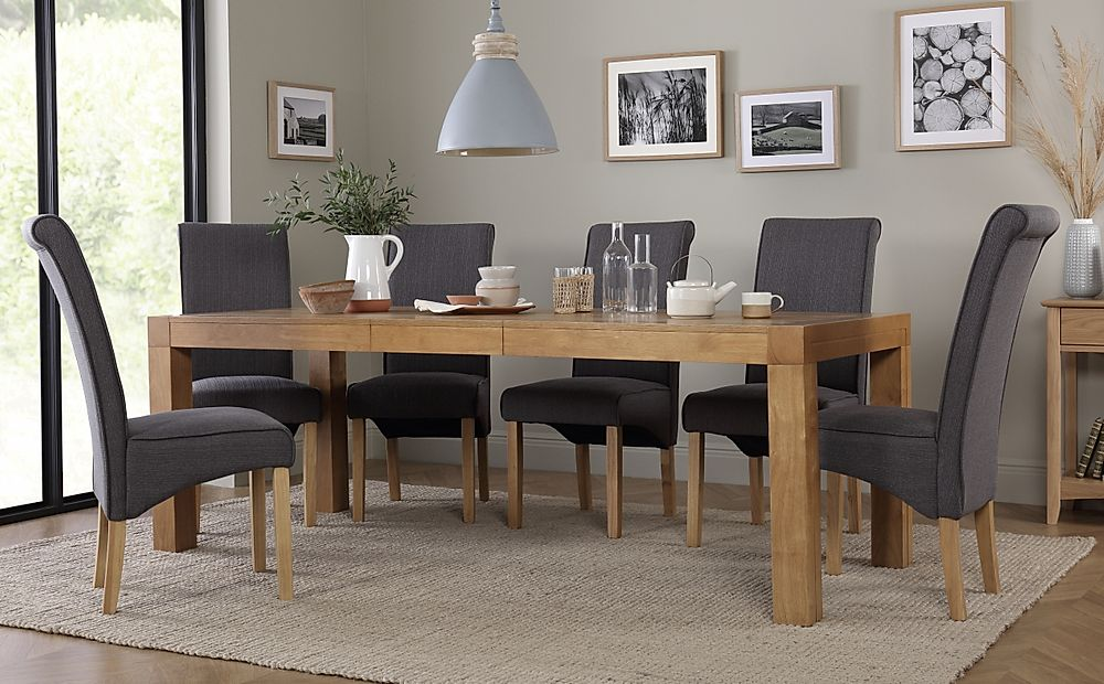 Cambridge Oak 175-220cm Extending Dining Table with 8 Stamford Slate Fabric Chairs