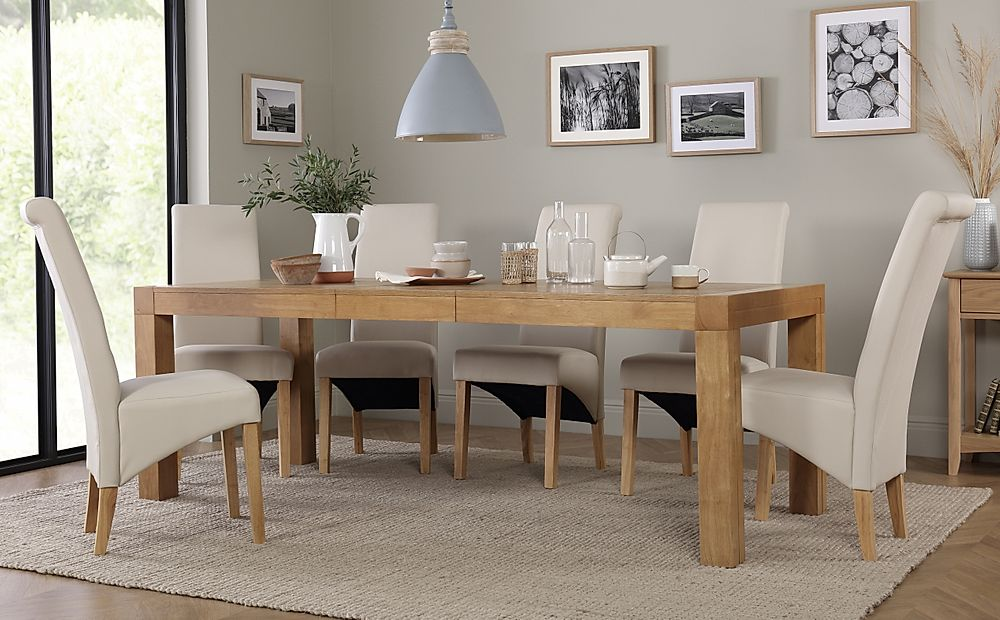 Cambridge 175-220cm Oak Extending Dining Table with 6 Richmond Cream Chairs