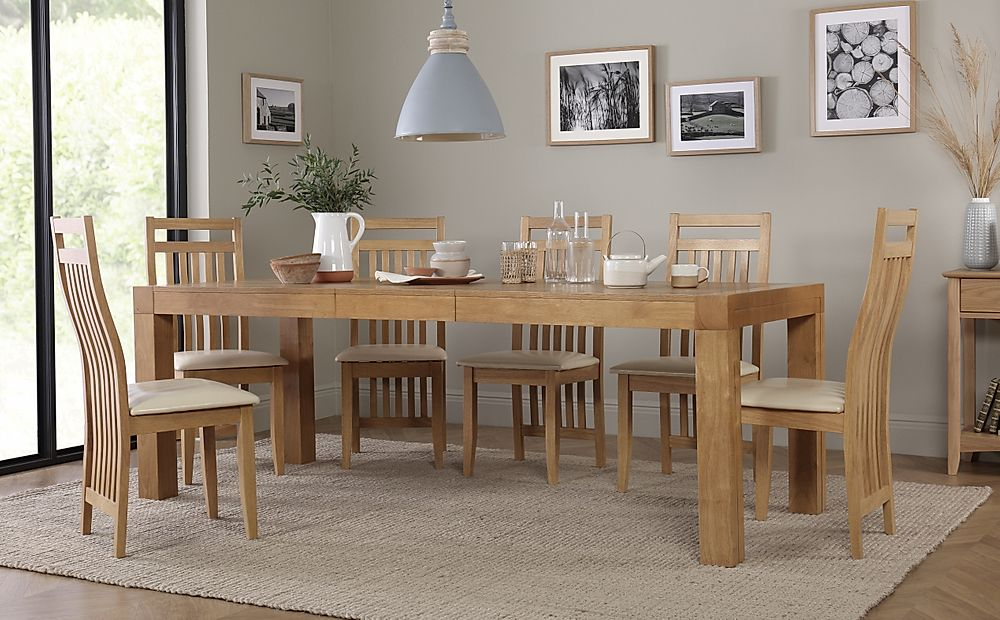 Cambridge 175-220cm Oak Extending Dining Table with 6 Bali Chairs (Ivory Seat Pad)