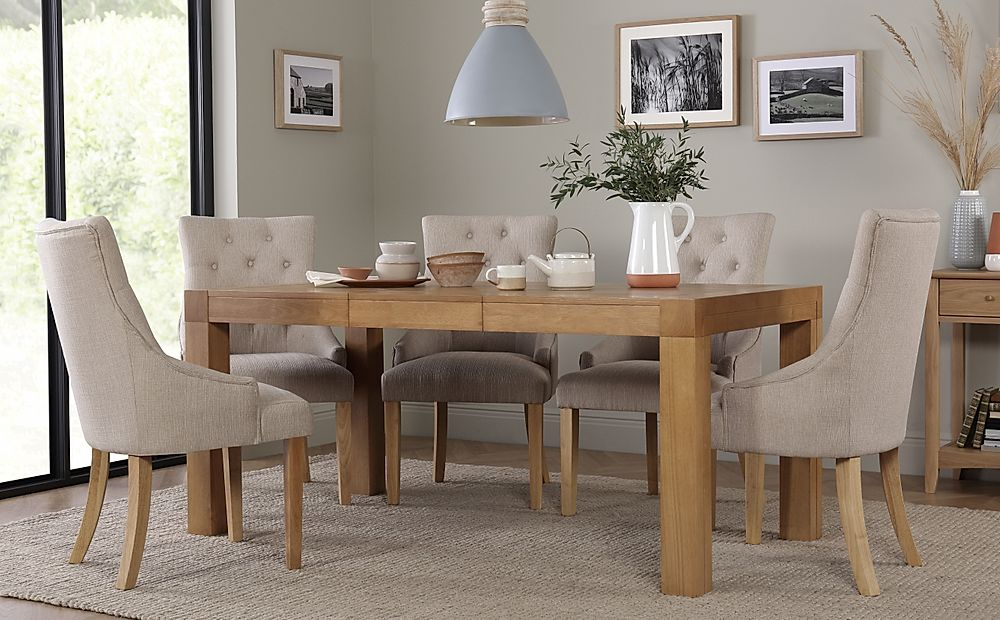 Cambridge 125-170cm Oak Extending Dining Table with 6 Duke Oatmeal Chairs