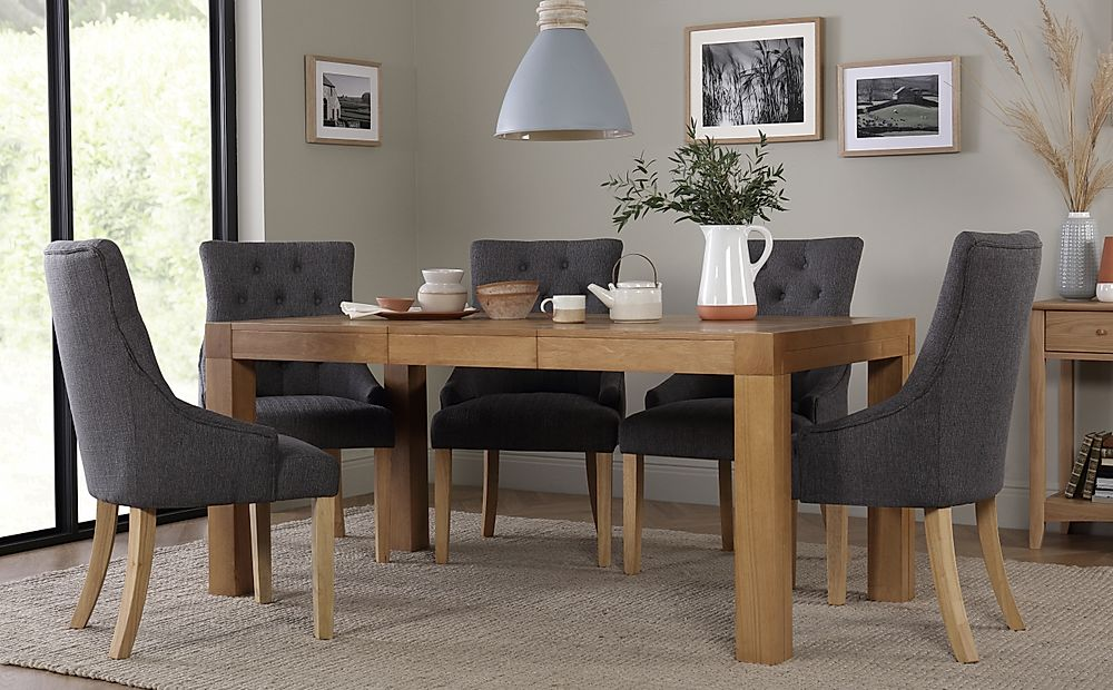 Cambridge 125-170cm Oak Extending Dining Table with 6 Duke Slate Chairs