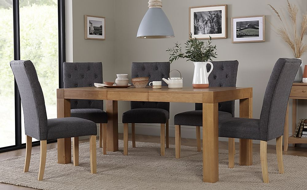 Cambridge 125-170cm Oak Extending Dining Table with 4 Hatfield Slate Chairs