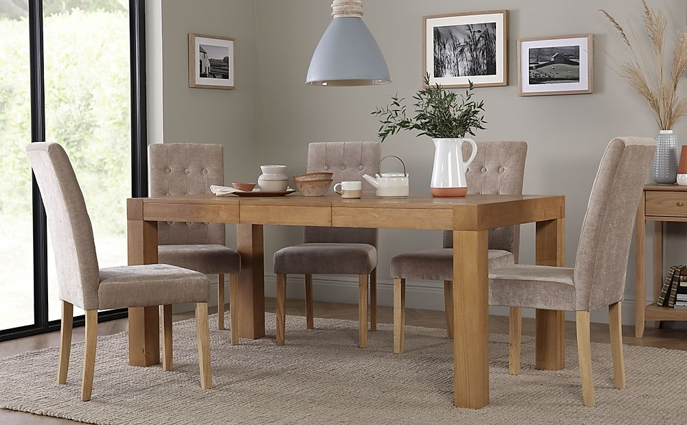 Cambridge Oak 125-170cm Extending Dining Table with 6 Regent Oatmeal Fabric Chairs