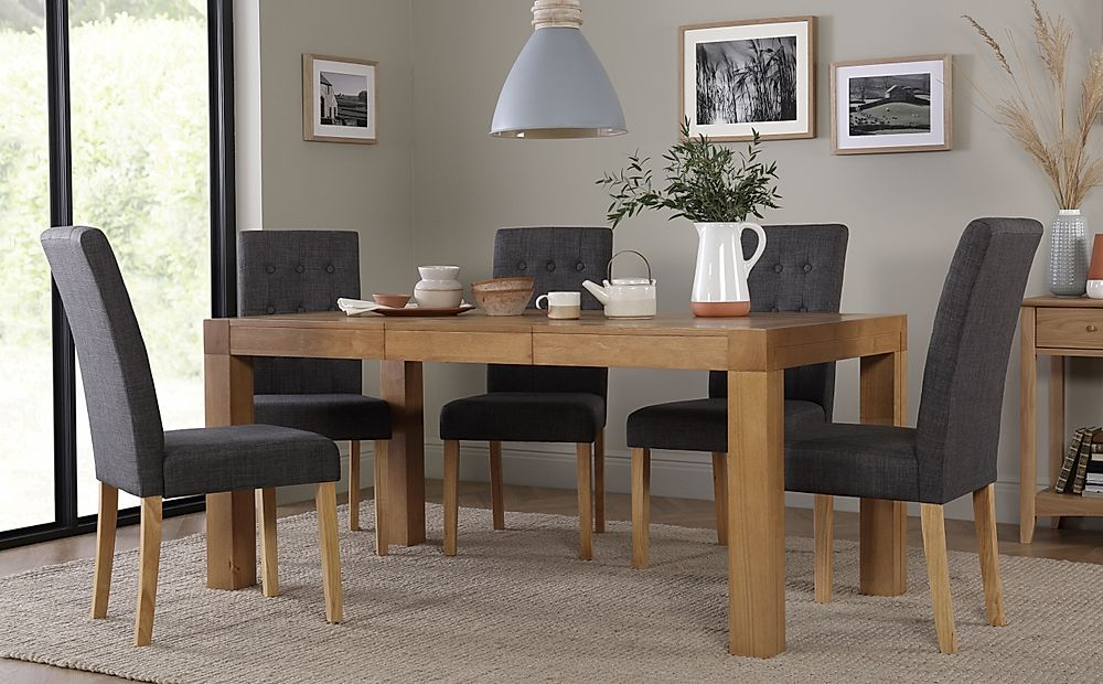 Cambridge 125-170cm Oak Extending Dining Table with 4 Regent Slate Chairs