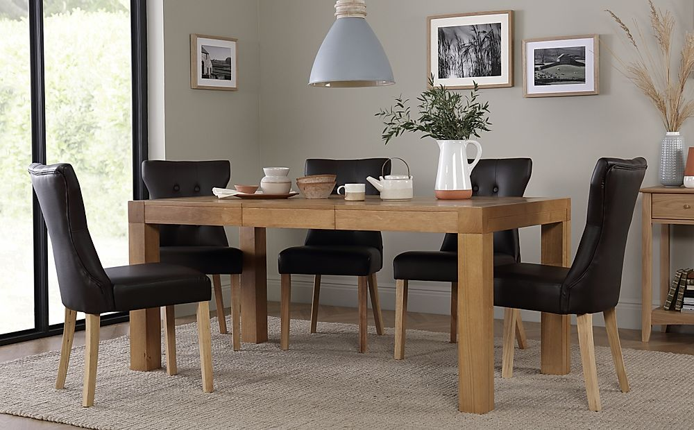 Cambridge Oak Extending Dining Table with 6 Bewley Brown Chairs