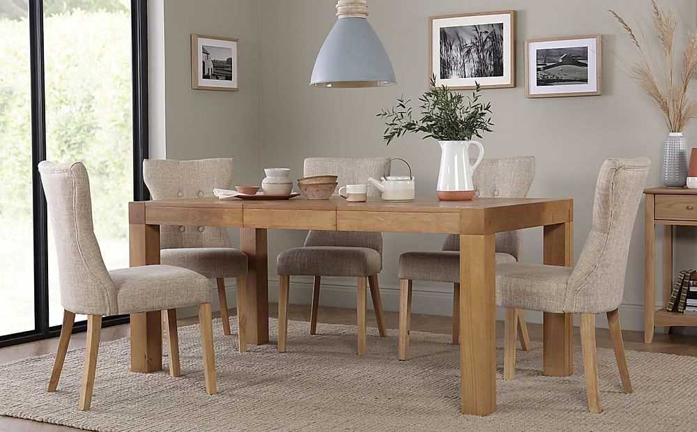 Cambridge 125-170cm Oak Extending Dining Table with 6 Bewley Oatmeal Chairs