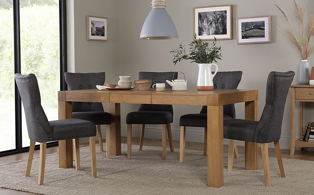 Cambridge 125-170cm Oak Extending Dining Table with 6 Bewley Slate Fabric Chairs