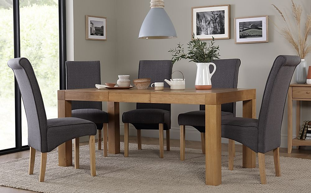 Cambridge 125-170cm Oak Extending Dining Table with 6 Stamford Slate Fabric Chairs