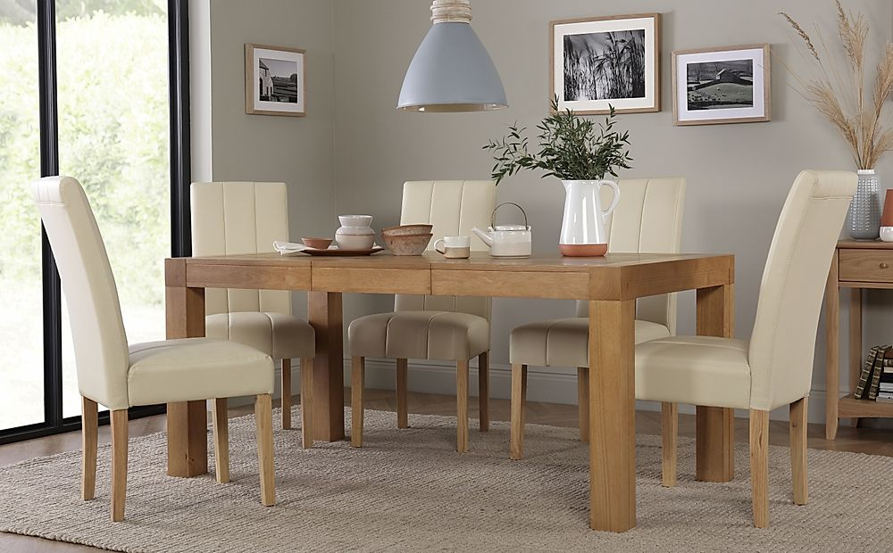 Cambridge Oak 125-170cm Extending Dining Table with 6 Carrick Ivory Leather Chairs