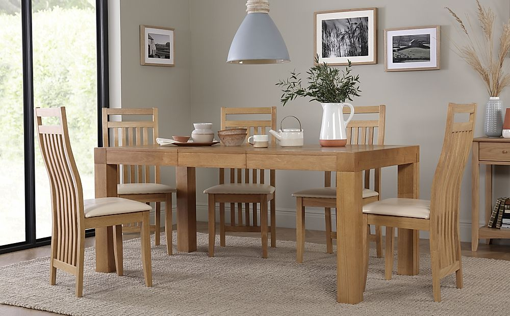 Cambridge 125-170cm Oak Extending Dining Table with 6 Bali Chairs (Ivory Seat Pad)