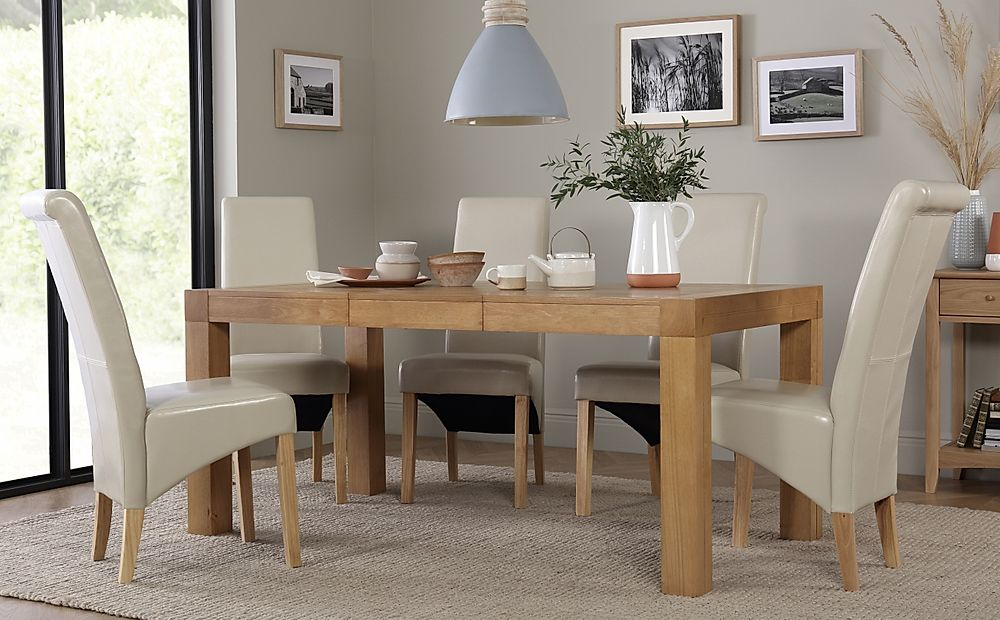 Cambridge 125-170cm Oak Extending Dining Table with 6 Boston Ivory Chairs