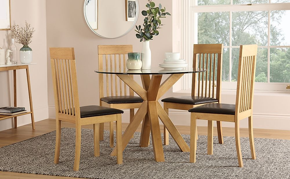 Hatton Round Oak and Glass Dining Table with 4 Oxford Chairs (Brown Seat Pad)