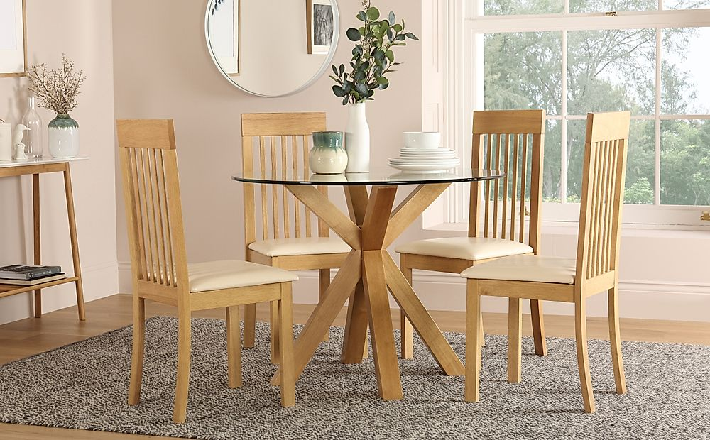Hatton Round Oak and Glass Dining Table with 4 Oxford Chairs (Ivory Leather Seat Pad)