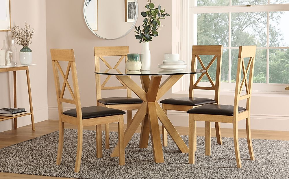 Hatton Round Oak and Glass Dining Table with 4 Kendal Chairs (Brown Leather Seat Pads)