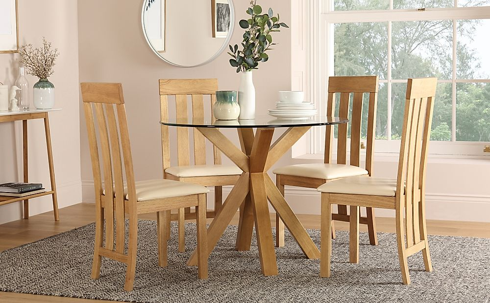 Hatton Round Oak and Glass Dining Table with 4 Chester Chairs (Ivory Seat Pad)