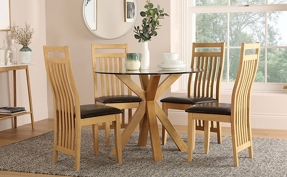 Hatton Round Oak and Glass Dining Table with 4 Bali Chairs (Brown Leather Seat Pads)
