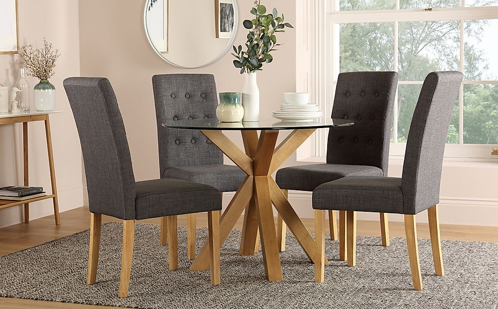 Hatton Round Oak and Glass Dining Table with 4 Regent Slate Chairs
