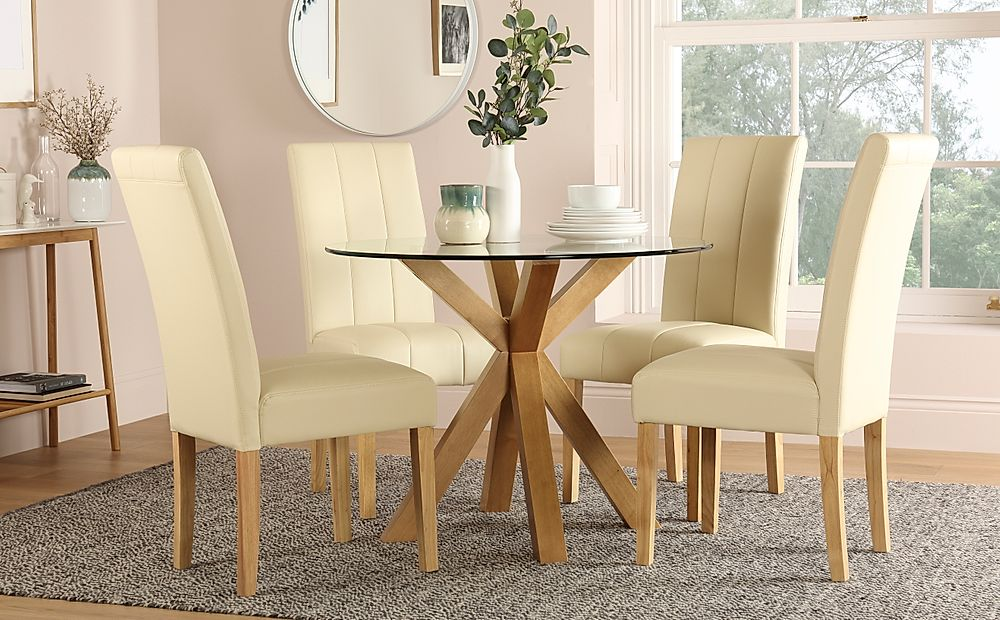 Hatton Round Oak and Glass Dining Table with 4 Carrick Ivory Chairs