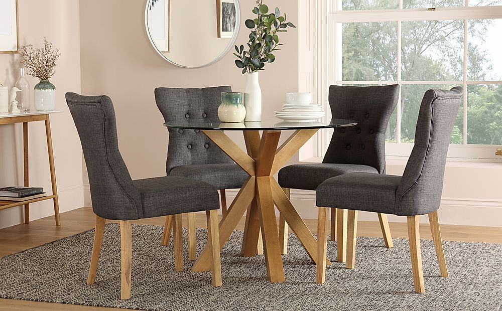 Hatton Round Oak and Glass Dining Table with 4 Bewley Slate Fabric Chairs