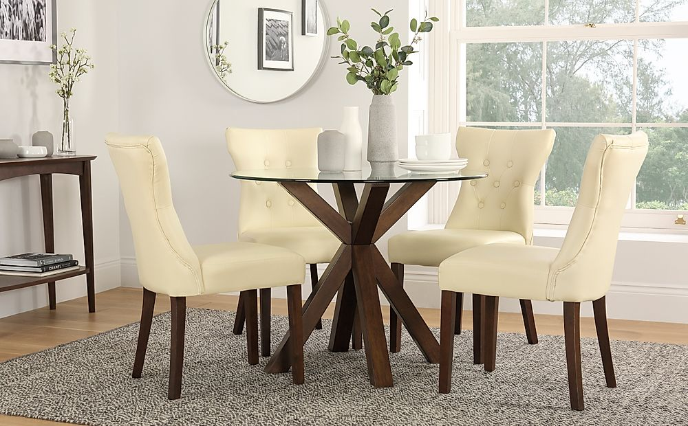Hatton Round Walnut and Glass Dining Table with 4 Bewley Ivory Chairs