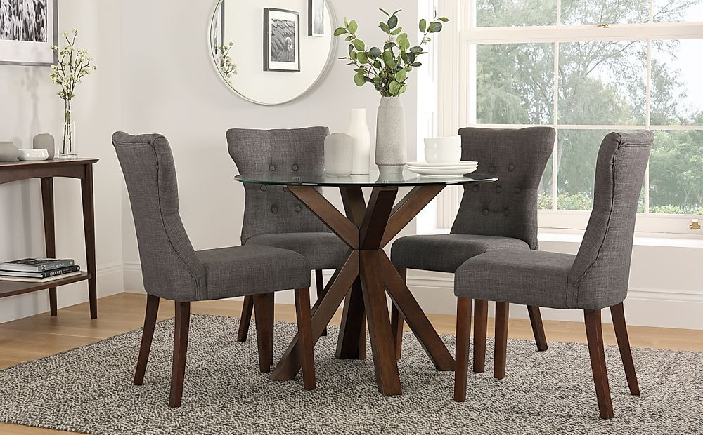 Hatton Round Dark Wood and Glass Dining Table with 4 Bewley Slate Fabric Chairs