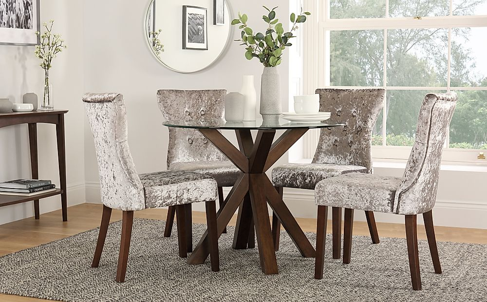 Hatton Round Walnut and Glass Dining Table with 4 Bewley Silver Velvet Chairs