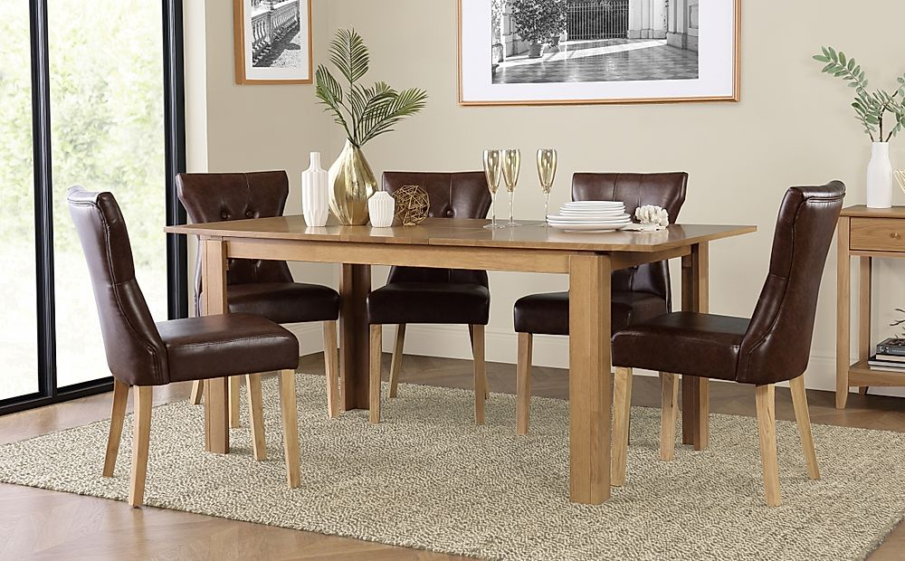 Bali Oak Extending Dining Table with 4 Bewley Club Brown Chairs
