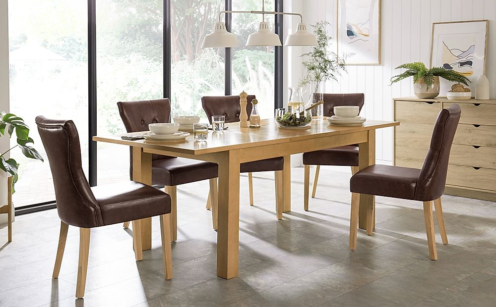 Hamilton 150-200cm Oak Extending Dining Table with 6 Bewley Club Brown Chairs