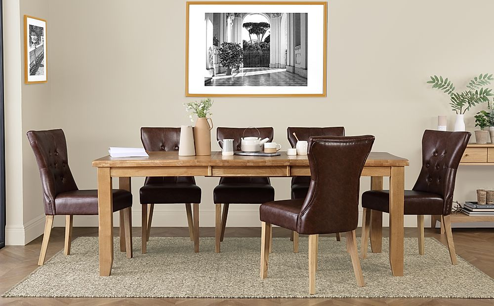 Highbury Oak Extending Dining Table with 6 Bewley Club Brown Leather Chairs