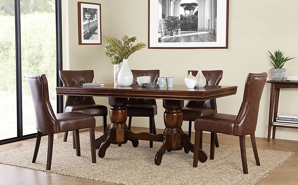 Chatsworth Dark Wood Extending Dining Table with 6 Bewley Club Brown Chairs