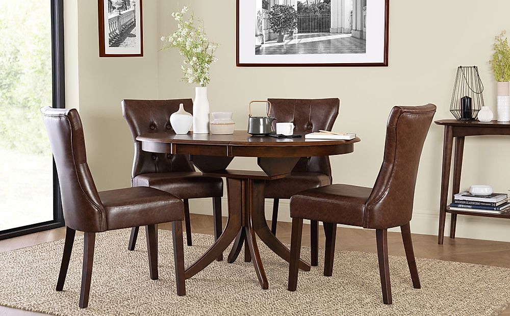 Hudson Round Dark Wood Extending Dining Table with 4 Bewley Club Brown Chairs