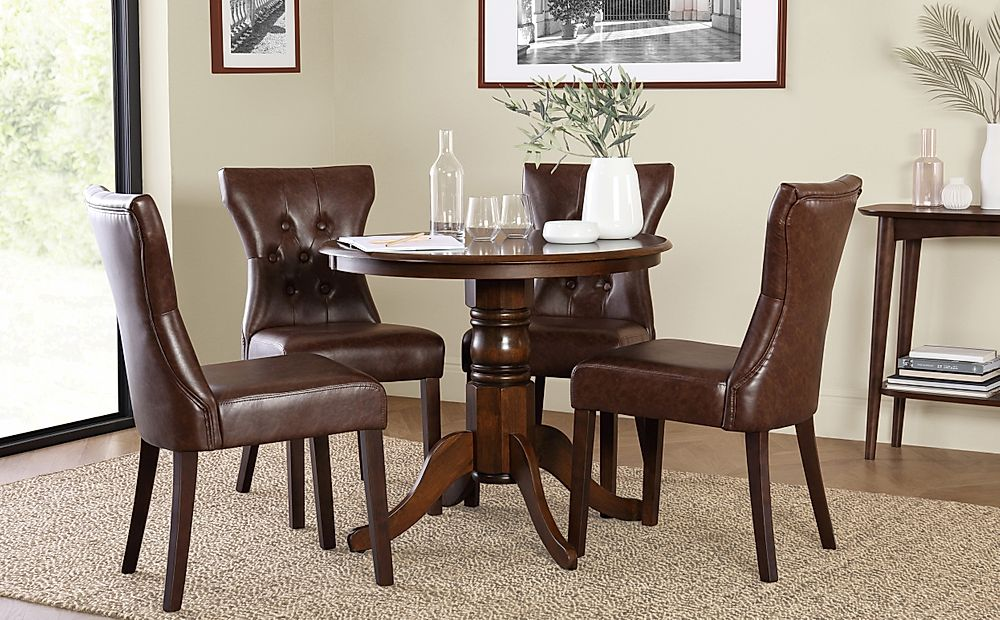 Kingston Round Dark Wood Dining Table with 4 Bewley Club Brown Leather Chairs