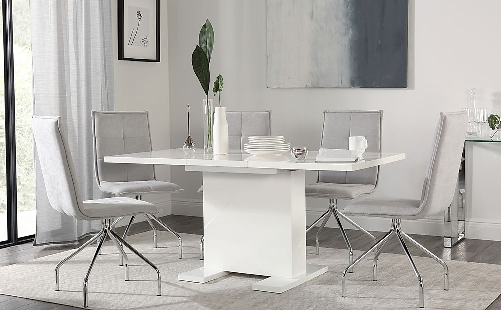 Osaka White High Gloss Extending Dining Table with 4 Soho Dove Grey Dining Chairs