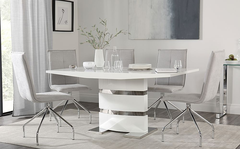 Komoro White High Gloss Dining Table with 4 Soho Dove Grey Dining Chairs