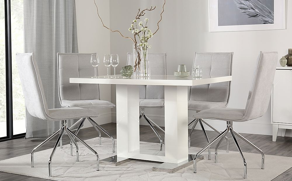 Joule White High Gloss Dining Table with 4 Soho Dove Grey Dining Chairs