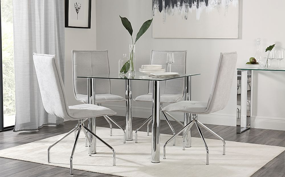 Nova Square Chrome and Glass Dining Table with 4 Soho Dove Grey Dining Chairs