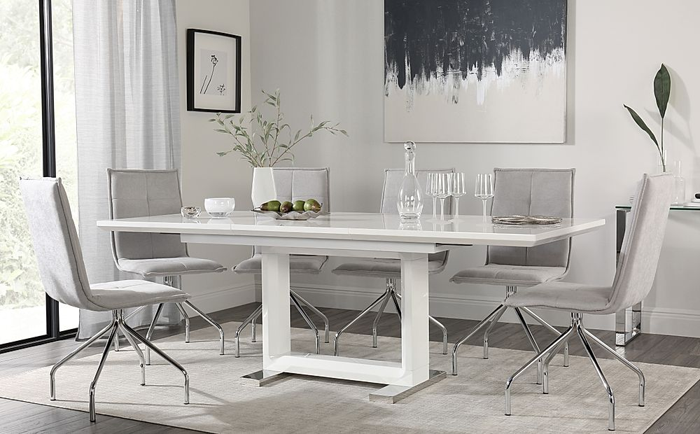 Tokyo White High Gloss Extending Dining Table with 6 Soho Dove Grey Dining Chairs