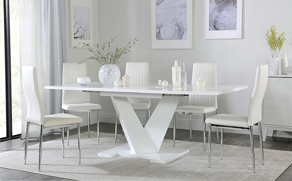 Turin White High Gloss Extending Dining Table with 4 Leon White Dining Chairs