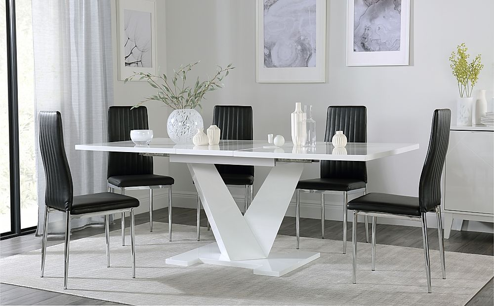 Turin White High Gloss Extending Dining Table with 6 Leon Black Dining Chairs