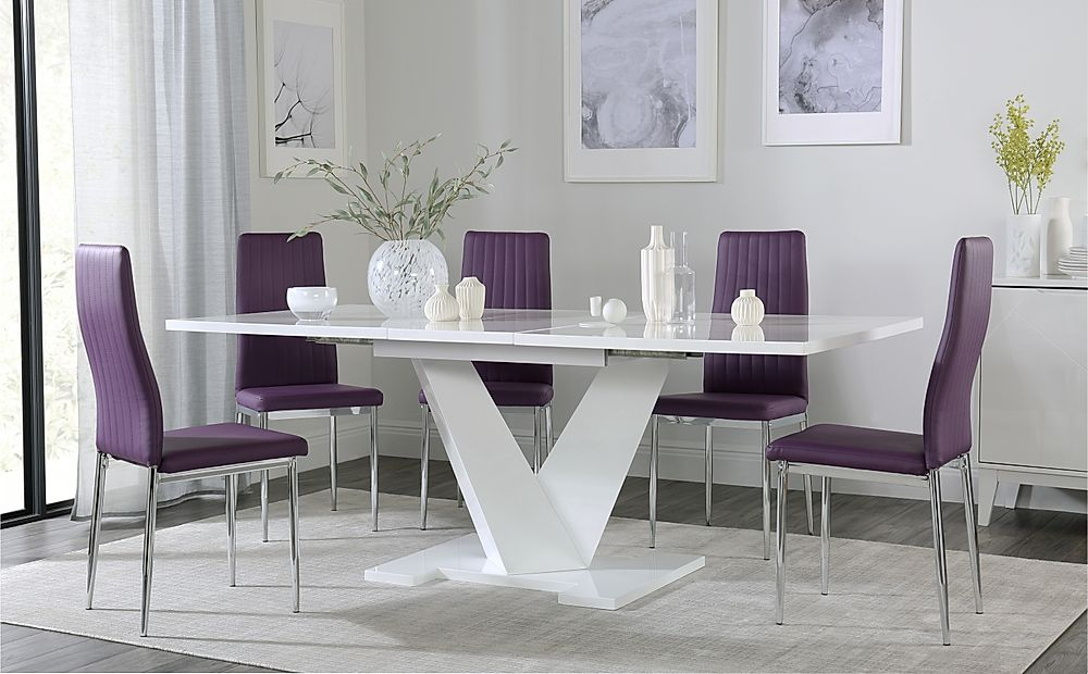 Turin White High Gloss Extending Dining Table with 4 Leon Purple Dining Chairs