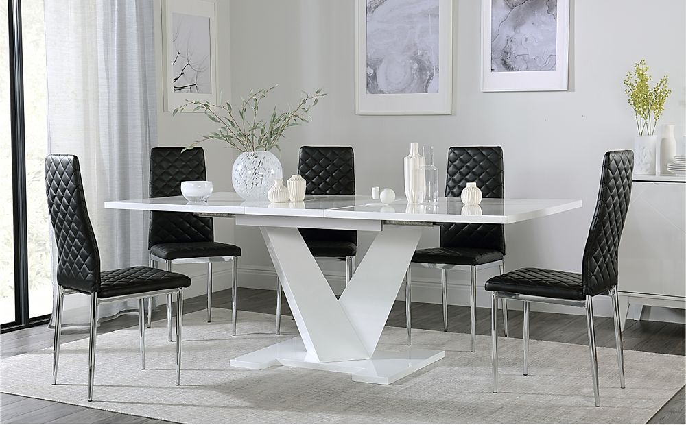 Turin White High Gloss Extending Dining Table with 6 Renzo Black Dining Chairs