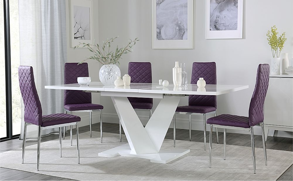 Turin White High Gloss Extending Dining Table with 6 Renzo Purple Dining Chairs