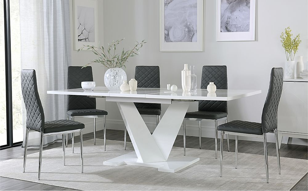 Turin White High Gloss Extending Dining Table with 4 Renzo Grey Dining Chairs