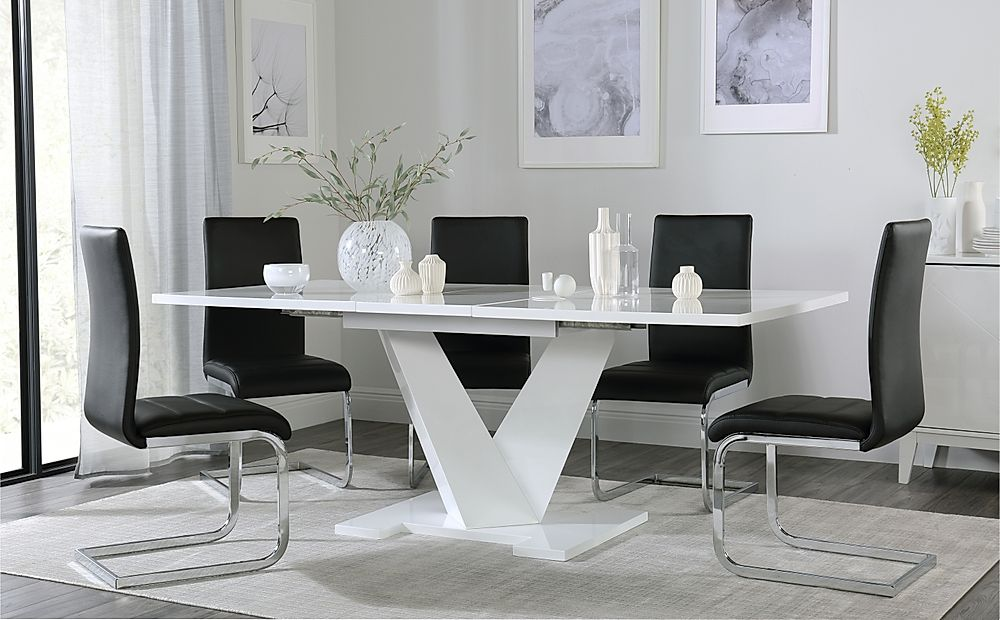 Turin White High Gloss Extending Dining Table with 6 Perth Black Leather Chairs
