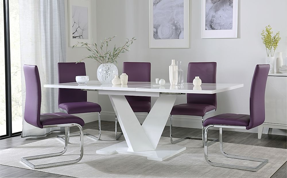 Turin White High Gloss Extending Dining Table with 4 Perth Purple Leather Chairs