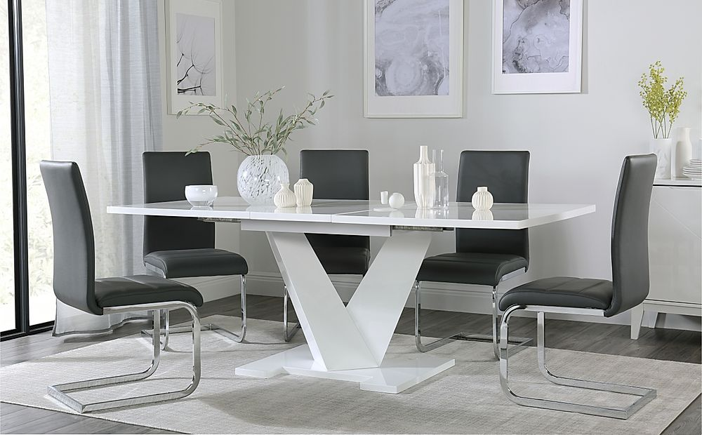 Turin White High Gloss Extending Dining Table with 6 Perth Grey Dining Chairs