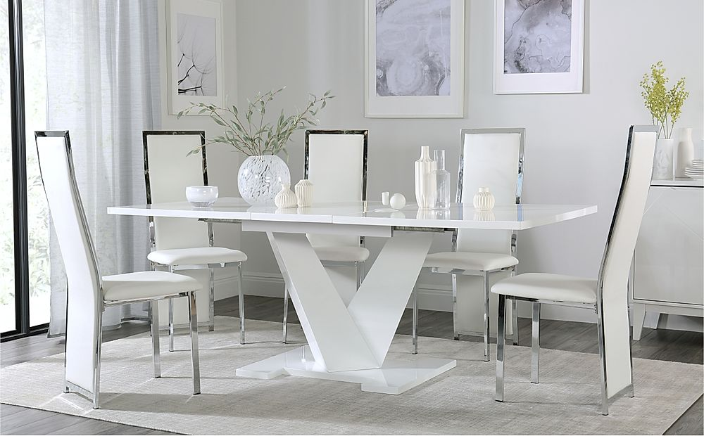 Turin White High Gloss Extending Dining Table with 6 Celeste White Dining Chairs