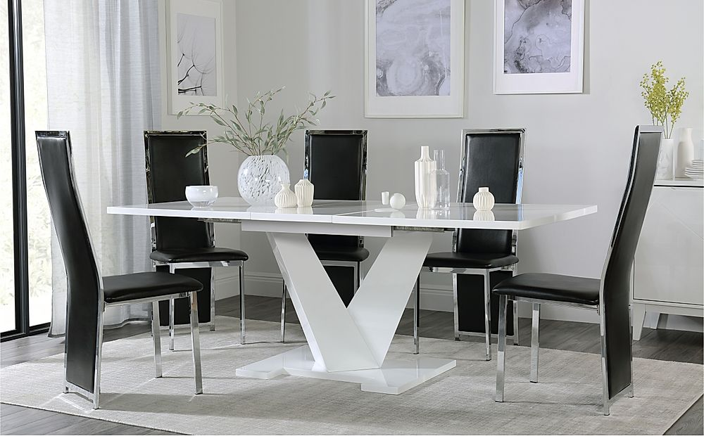 Turin White High Gloss Extending Dining Table with 4 Celeste Black Leather Chairs